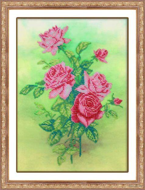 """Вышивка бисером """"Розовые розы"""" (225х310 мм) — фото, картинка"""