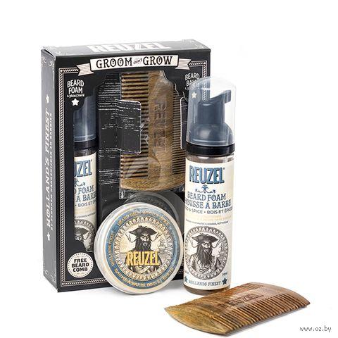 """Подарочный набор """"Groom and Grow Box"""" (бальзам, пена, расческа для бороды) — фото, картинка"""