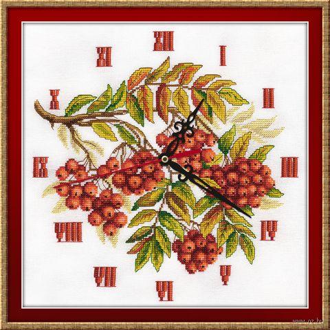 """Вышивка крестом """"Часы. Гроздья рябины"""" (270х270 мм) — фото, картинка"""