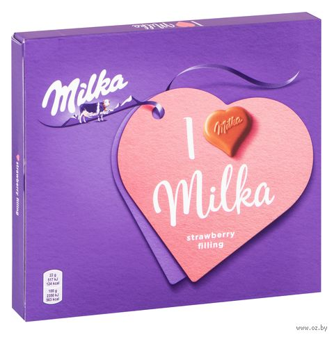 """Конфеты """"Milka. С клубничной начинкой"""" (110 г) — фото, картинка"""
