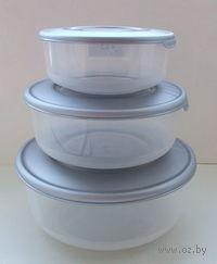 Набор контейнеров пластмассовых термостойких круглых (3 шт, 0,55/1/1,7 л)