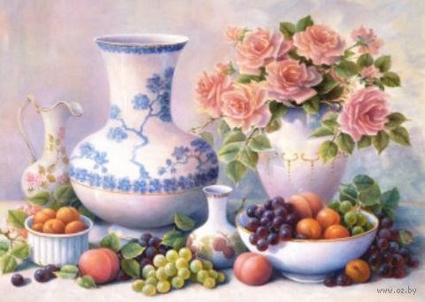 "Алмазная вышивка-мозаика ""Натюрморт с розами"" (450х650 мм) — фото, картинка"