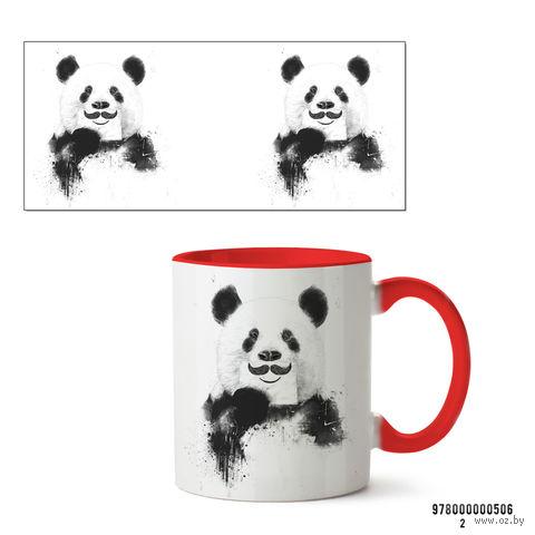 """Кружка """"Панда с усами"""" (красная) — фото, картинка"""