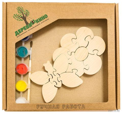 """Набор для росписи по дереву """"Цветок с бабочкой"""" — фото, картинка"""