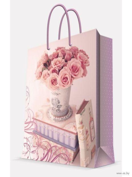 """Пакет бумажный подарочный """"Ваза с розами"""" (40,6х48,9х19 см; арт. 44216) — фото, картинка"""