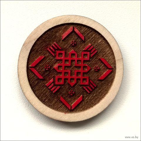 """Магнит деревянный """"Беларускія Арнаменты. Знак мужчынскай засьцярогі"""" — фото, картинка"""