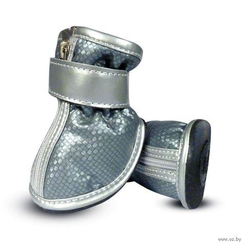 Ботинки (4,5х4х5 см; серебристые) — фото, картинка