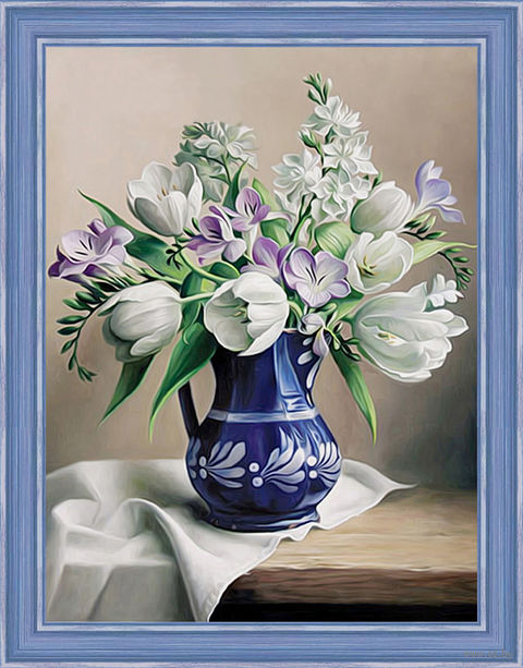 "Алмазная вышивка-мозаика ""Белые тюльпаны"" (300х400 мм) — фото, картинка"
