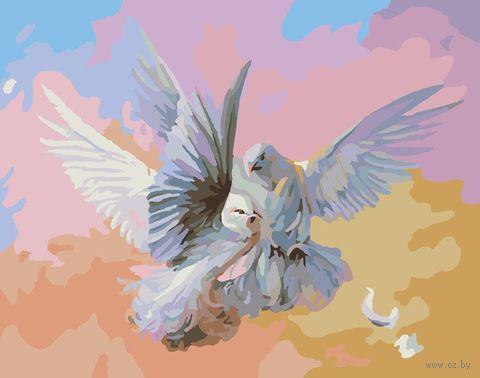 "Картина по номерам ""Полет белых голубей"" (400х500 мм) — фото, картинка"