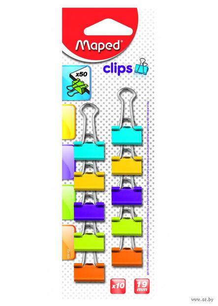 Зажим для бумаги (19 мм; цветной; 10 штук)