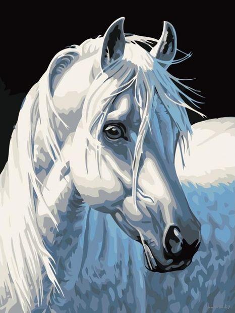 "Картина по номерам ""Белая лошадь"" (400х300 мм)"