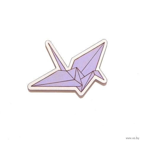 """Значок деревянный """"Оригами. Журавль"""" (фиолетовый)"""