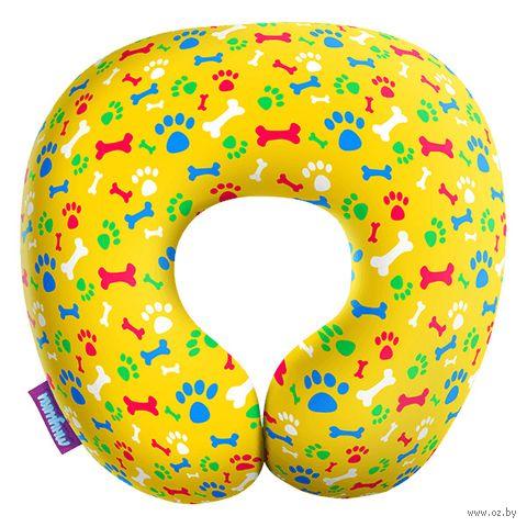 """Подушка под шею """"Гав-гав"""" (34х34 см; жёлтая) — фото, картинка"""
