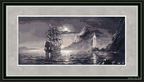 "Вышивка крестом ""Лунная дорожка"" (425x190 мм) — фото, картинка"
