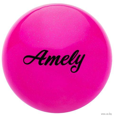 Мяч для художественной гимнастики AGB-102 (15 см; розовый с блёстками) — фото, картинка