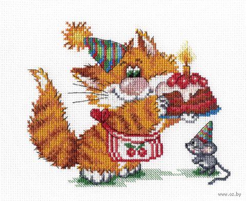 """Вышивка крестом """"Рыжий кот. День рождения"""" (150х200 мм) — фото, картинка"""