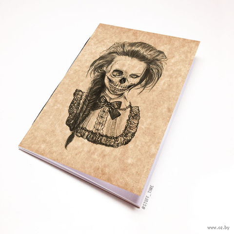 """Блокнот крафт """"Девушка-скелет"""" А6 (750)"""