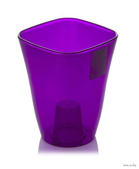 "Кашпо ""Flora"" (12,5х12,5х17 см; прозрачный фиолетовый) — фото, картинка"