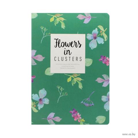 """Блокнот в линейку """"Flowers in Clusters"""" (182х258 мм; зеленый) — фото, картинка"""