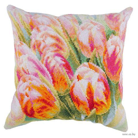 """Вышивка крестом """"Подушка. Весенние цветы"""" (300х300 мм) — фото, картинка"""
