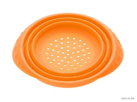 Дуршлаг силиконовый складной (180x85 мм; оранжевый) — фото, картинка