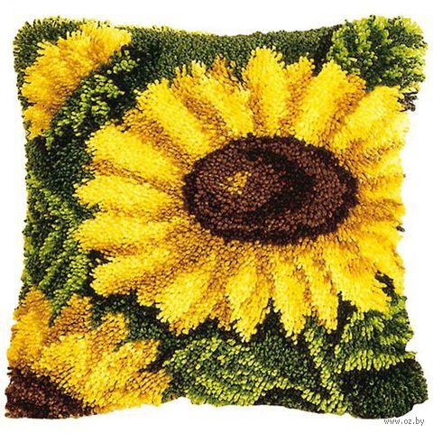 "Вышивка в ковровой технике ""Подушка. Подсолнух"" (400х400 мм) — фото, картинка"