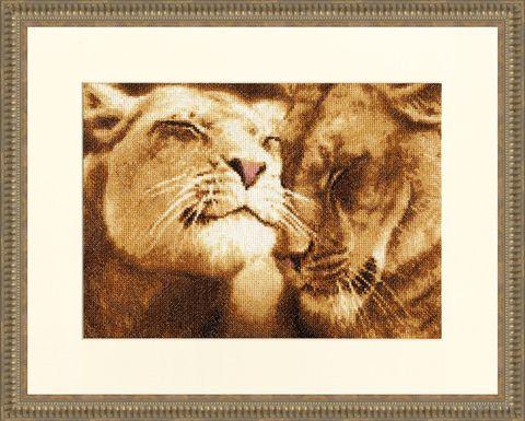 """Вышивка крестом """"Влюбленные львы"""""""