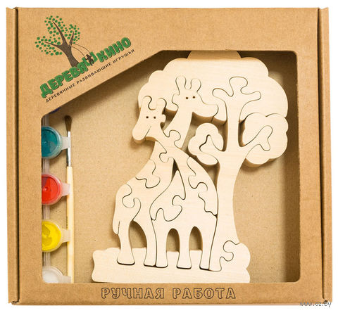 """Набор для росписи по дереву """"Жирафы и дерево"""" — фото, картинка"""