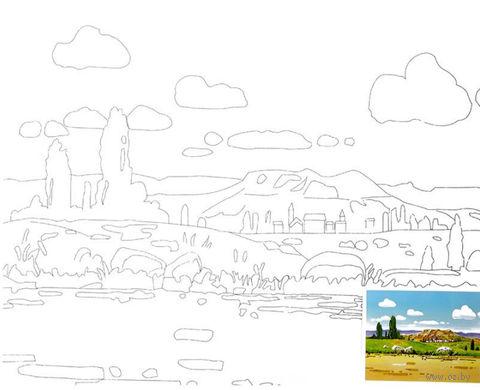 """Холст с контуром """"Пейзаж-2"""" — фото, картинка"""