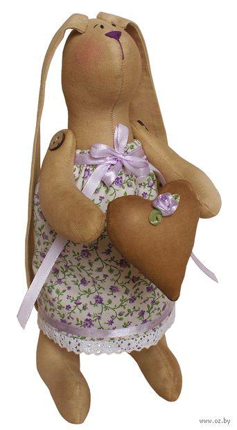 """Набор для шитья из ткани """"Зайка в платье с сердечком"""" — фото, картинка"""