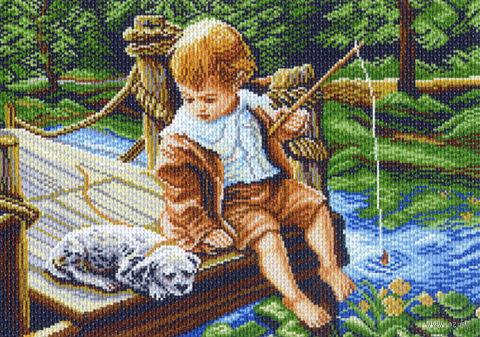 """Канва с нанесенным рисунком """"С другом на рыбалке"""""""