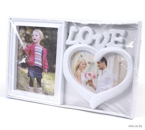 Рамка для фото пластмассовая на 2 фото ''Love'' (37,5х22,5 см)