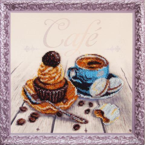"""Вышивка бисером """"Кофейный капкейк"""" (300х300 мм; на подрамнике) — фото, картинка"""