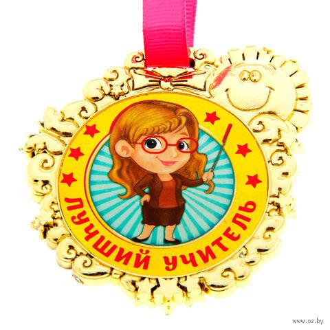 """Медаль пластмассовая """"Лучший учитель"""" (6,5х7 см)"""