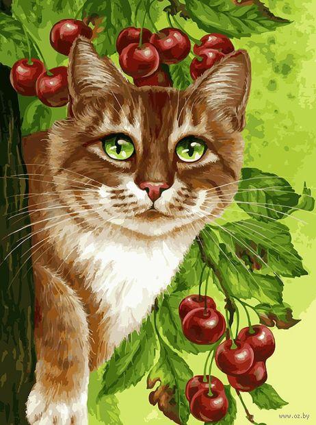 "Картина по номерам ""Кот на вишневом дереве"" (300х400 мм) — фото, картинка"