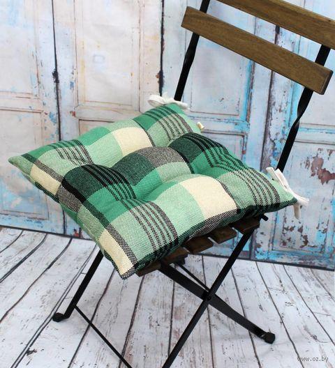 "Подушка на стул ""Шотландка"" (42х42 см; бежево-зелёная) — фото, картинка"
