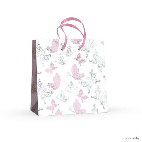 """Пакет бумажный подарочный """"Бабочки"""" (16,5x16,5x9,2 см) — фото, картинка"""