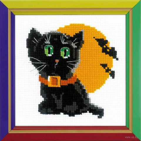 """Вышивка крестом """"Черный кот"""" (150x150 мм) — фото, картинка"""