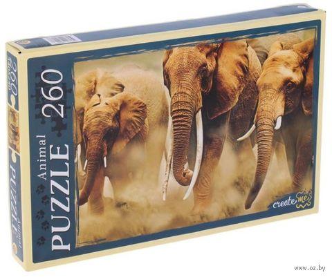 """Пазл """"Бегущие слоны"""" (260 элементов) — фото, картинка"""