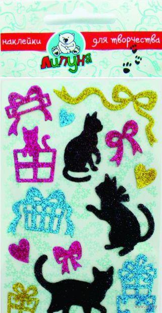 "Наклейки блестящие ""Кошки и подарки"""