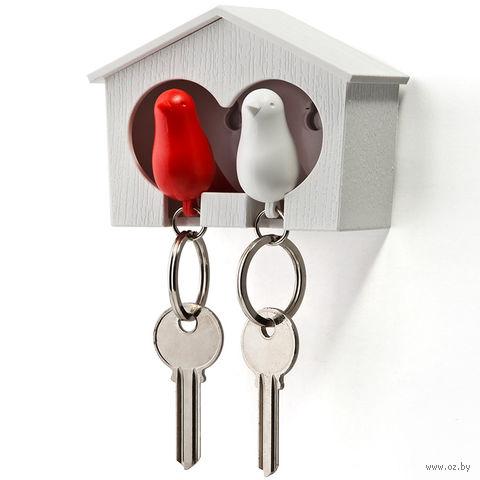 """Брелок-свисток и держатель двойной для ключей """"Sparrow"""" (белый/красный)"""