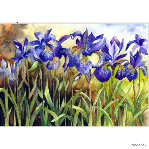 """Алмазная вышивка-мозаика """"Синие ирисы"""" (400x280 мм) — фото, картинка"""