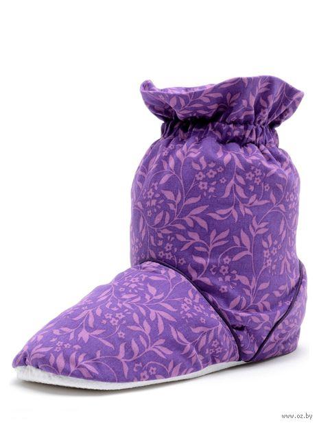 Тапочки-грелки с узором фиолетовые