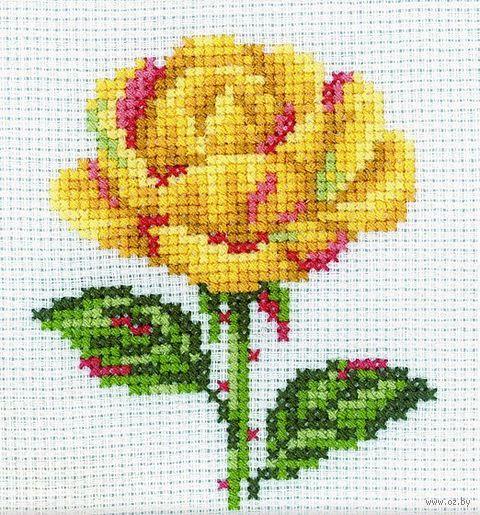 "Вышивка крестом ""Жёлтая роза"" (100x100 мм) — фото, картинка"
