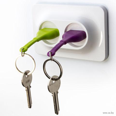 """Брелок и двойной держатель для ключа """"Unplug"""" (фиолетовый, зеленый)"""