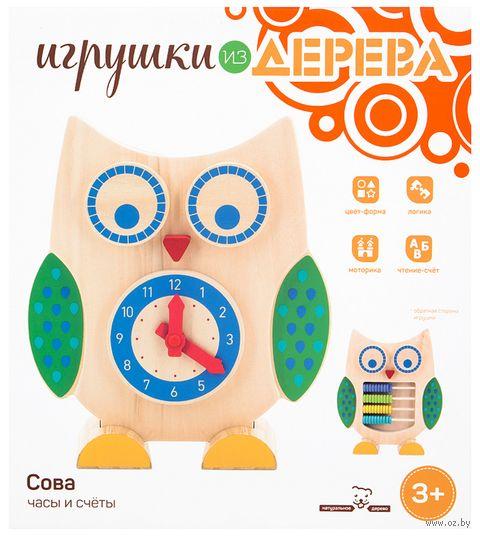 """Деревянная игрушка """"Сова. Часы и счеты"""" — фото, картинка"""
