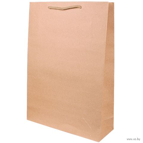 "Пакет бумажный подарочный ""Крафт"" (33х24х8 см) — фото, картинка"