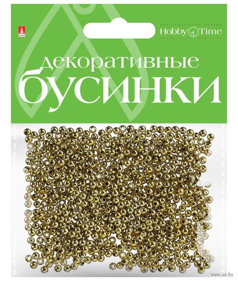 Набор бусин декоративных (3 мм; золотые) — фото, картинка
