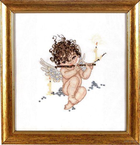 "Вышивка крестом ""Ангелочек с флейтой"" (180х200 мм) — фото, картинка"