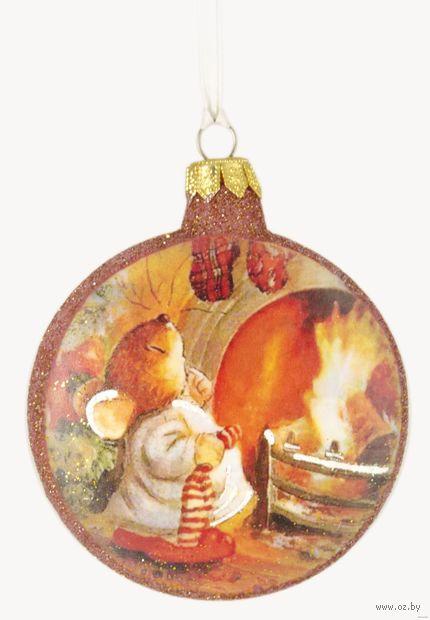 """Ёлочное украшение """"Медальон. Мышь у камина"""" (арт. Ф-83) — фото, картинка"""